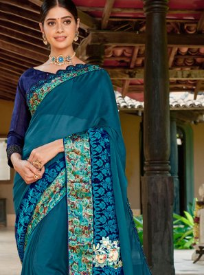 Teal Festival Fancy Fabric Designer Traditional Saree