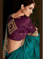 Teal Festival Trendy Saree
