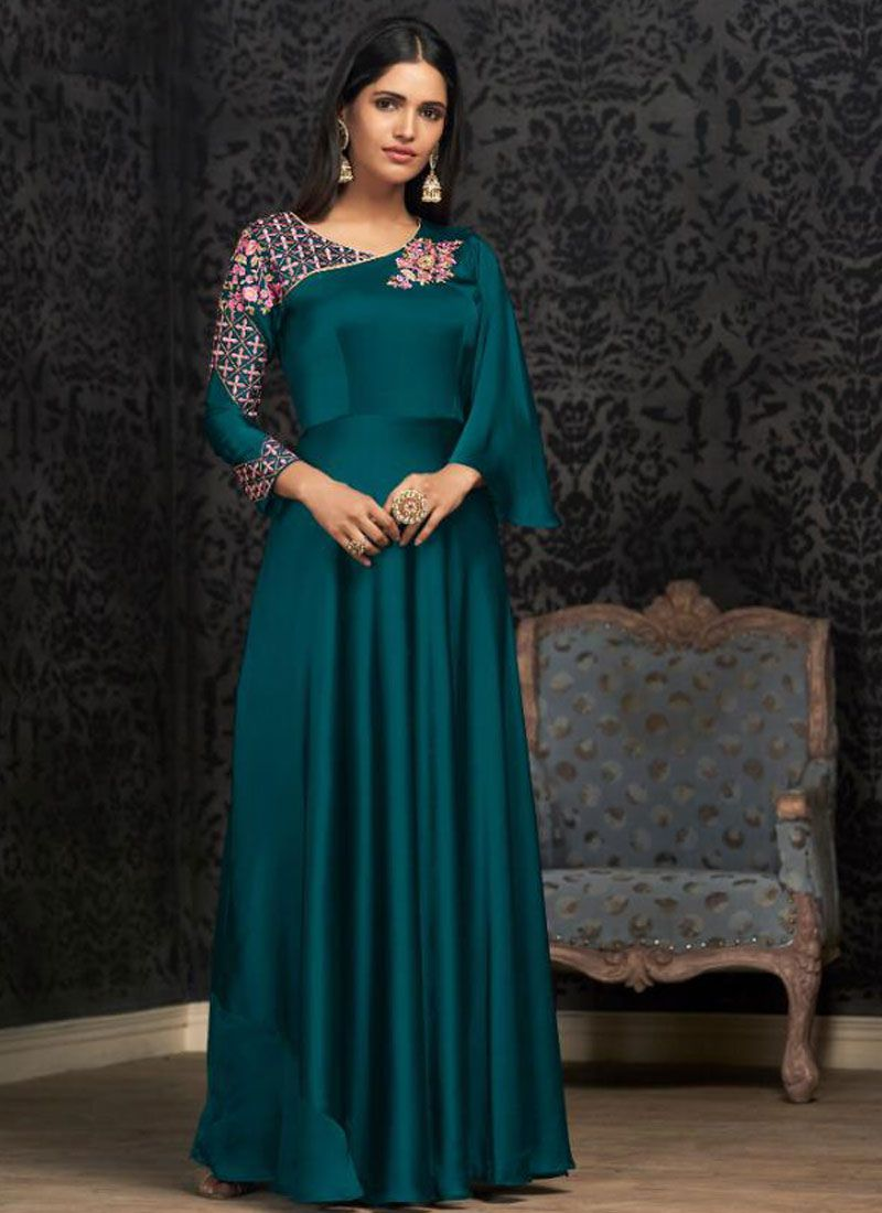 Teal Georgette Party Readymade Designer Gown