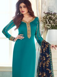 Teal Georgette Satin Churidar Salwar Suit