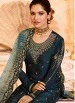 Teal Georgette Satin Designer Pakistani Suit