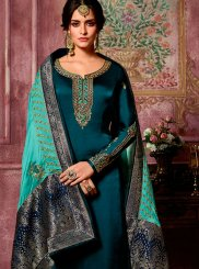 Teal Georgette Satin Reception Churidar Suit