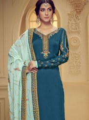 Teal Georgette Satin Stone Work Designer Salwar Suit
