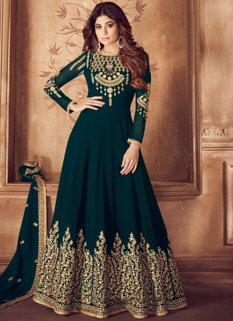 Teal Georgette Wedding Anarkali Suit
