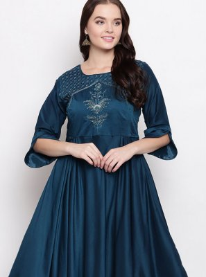 Teal Handwork Viscose Casual Kurti