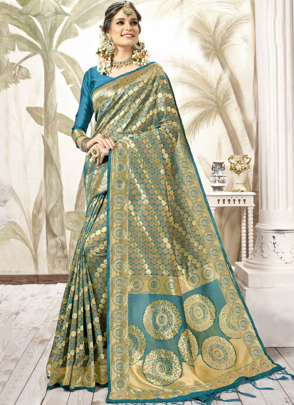Teal Mehndi Traditional Saree
