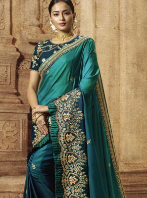 Teal Party Traditional Saree