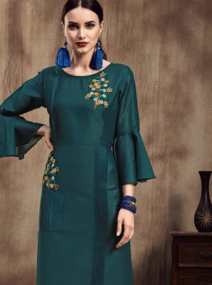 Teal Party Wear Kurti