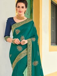 Teal Patch Border Art Silk Designer Traditional Saree