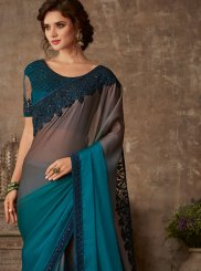 Teal Patch Border Faux Chiffon Classic Saree