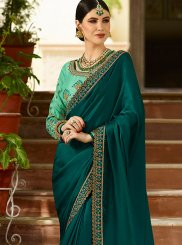 Teal Patch Border Wedding Designer Traditional Saree