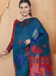 Teal Print Art Silk Traditional Saree