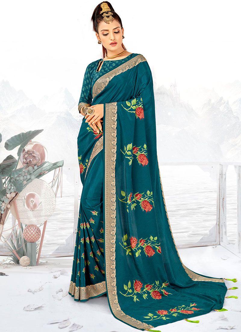 Teal Printed Saree