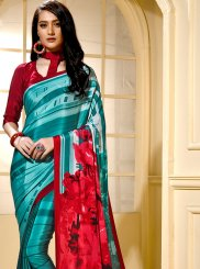 Teal Printed Trendy Saree