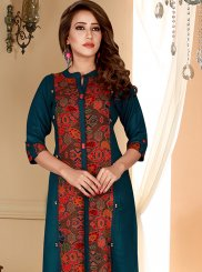 Teal Rayon Party Wear Kurti