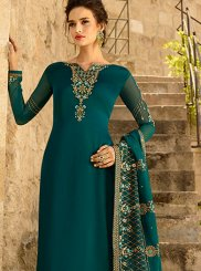 Teal Resham Georgette Satin Churidar Designer Suit