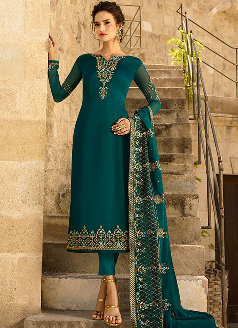 Teal Resham Georgette Satin Churidar Designer Suit