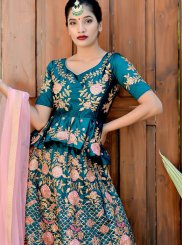 Teal Satin Silk Lehenga Choli