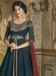 Teal Silk Embroidered Anarkali Salwar Suit