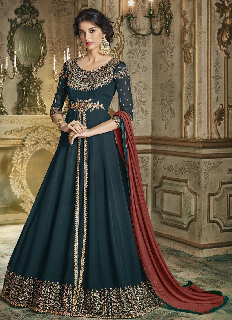 Teal Silk Embroidered Anarkali Salwar Suit