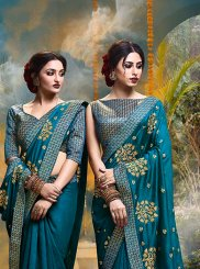 Teal Silk Silk Saree
