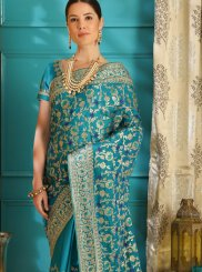 Teal Stone Work Wedding Designer Saree