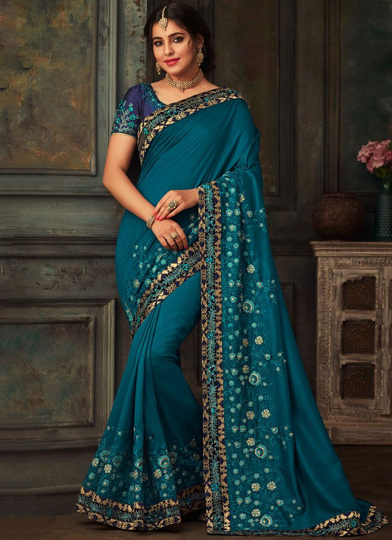 Teal Traditional Designer Saree