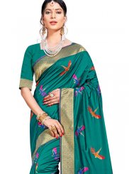 Teal Weaving Art Silk Designer Traditional Saree