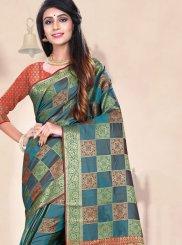 Teal Weaving Designer Traditional Saree