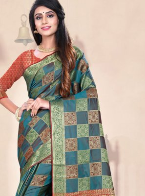 Teal Weaving Designer Traditional Saree