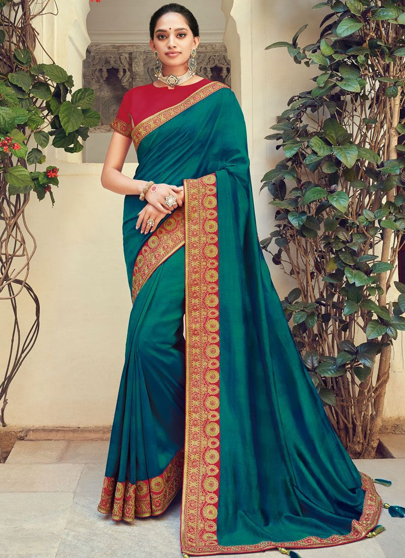 Teal Weaving Party Traditional Designer Saree