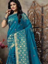 Teal Weaving Reception Traditional Saree
