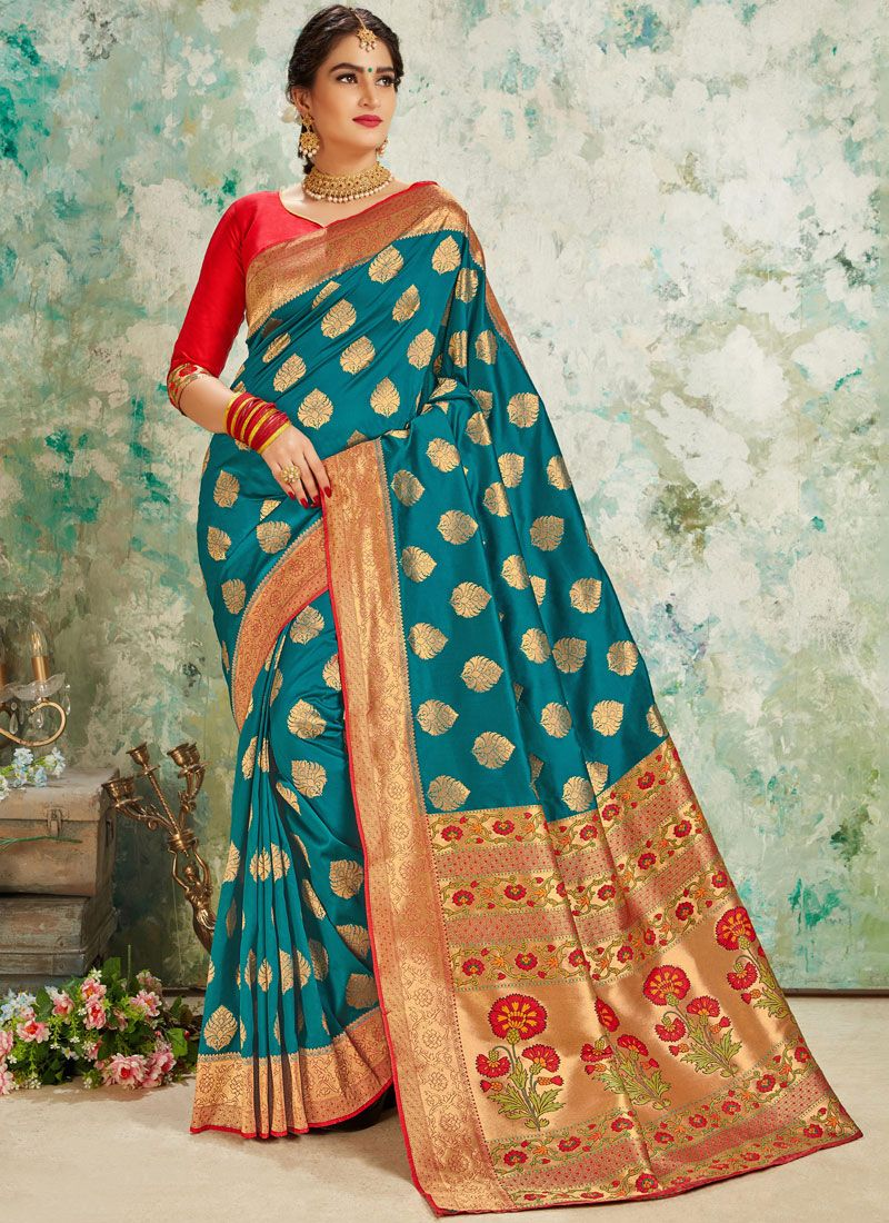 Teal Weaving Silk Designer Traditional Saree