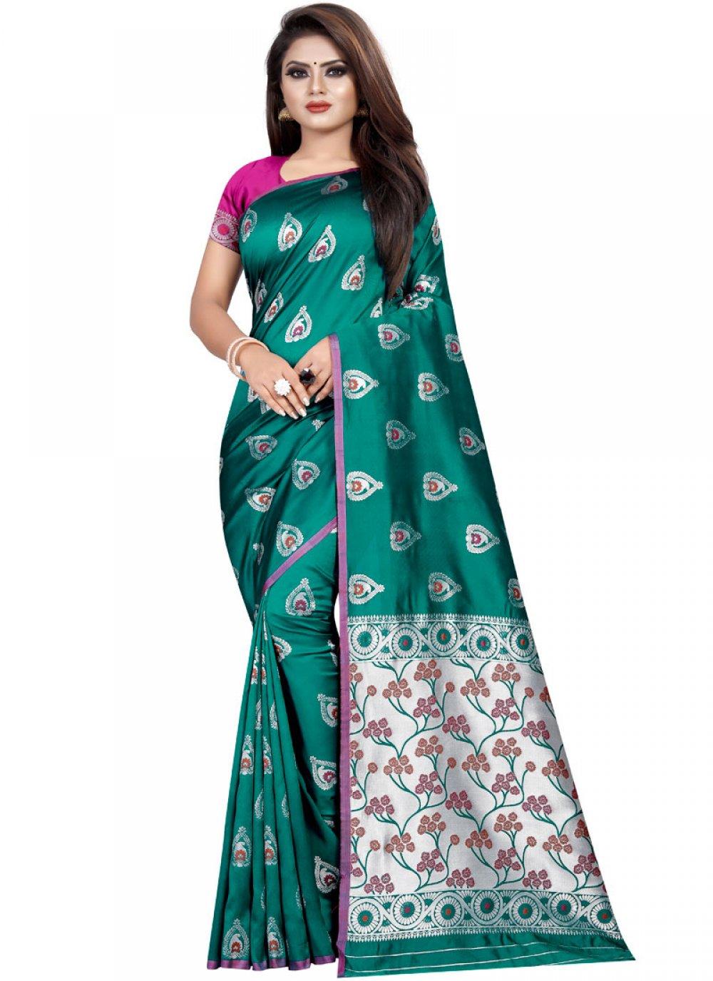 Teal Weaving Silk Trendy Saree