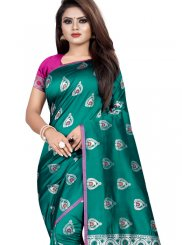 Teal Weaving Silk Trendy Saree