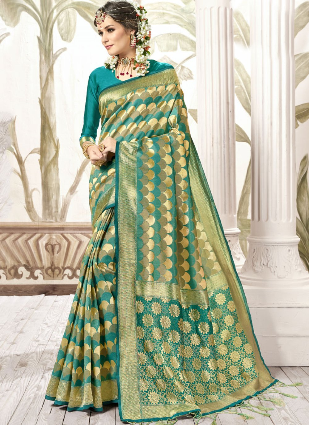 Teal Weaving Trendy Saree