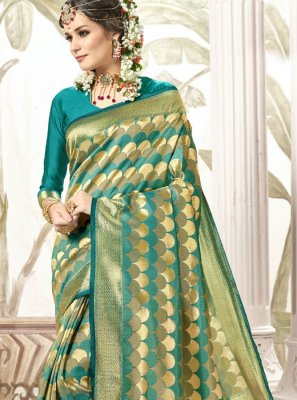 Teal Weaving Trendy Saree