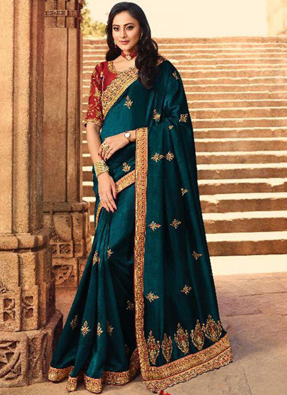 Teal Wedding Silk Saree