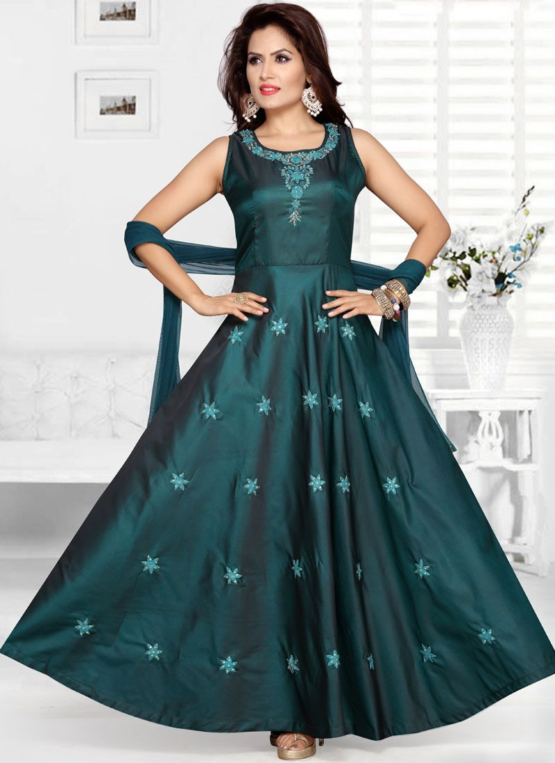 Teal Wedding Tafeta Silk Readymade Anarkali Suit