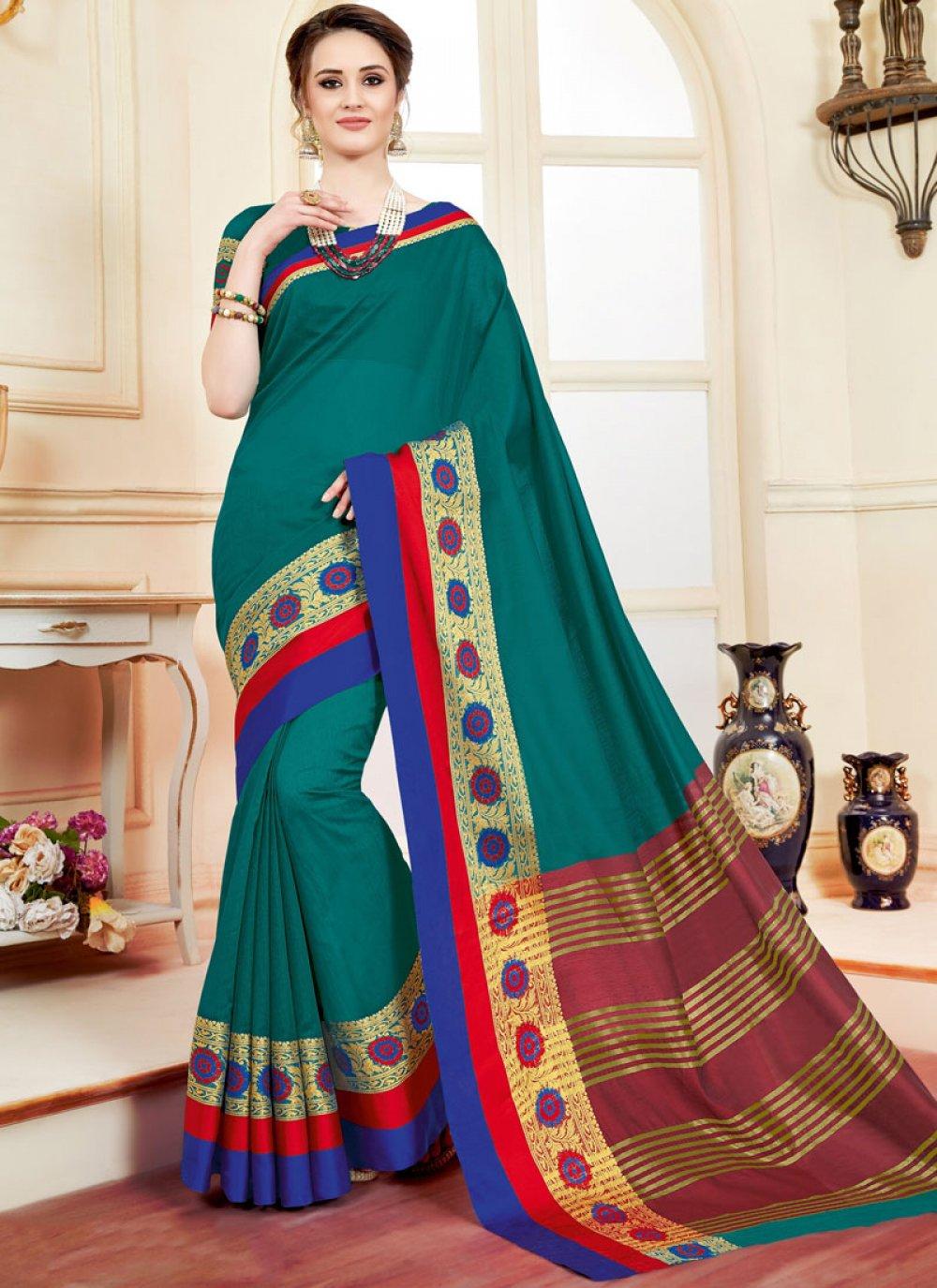 Teal woven Work Cotton Silk Casual Saree