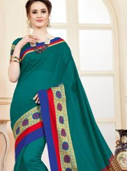 Teal woven Work Cotton Silk Casual Saree