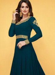 Teal Zari Floor Length Anarkali Suit