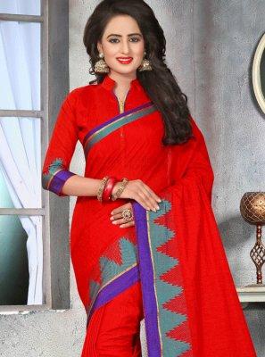 Thread Cotton   Designer Saree in Red