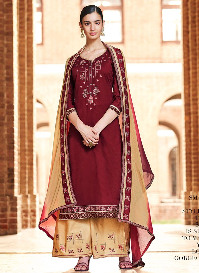 Thread Cotton Palazzo Designer Suit