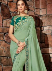 Thread Georgette Designer Saree in Green