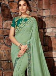Thread Georgette Designer Saree in Green