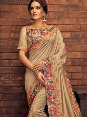Thread Work Beige Classic Saree