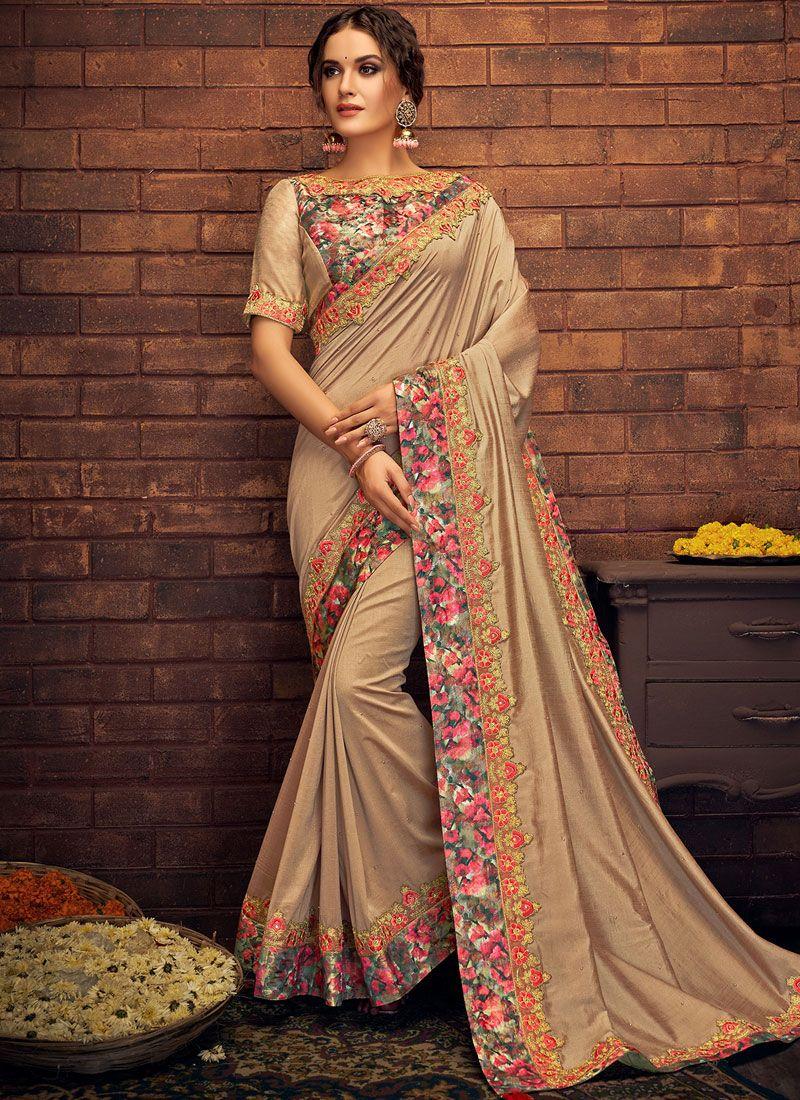 Thread Work Beige Classic Saree