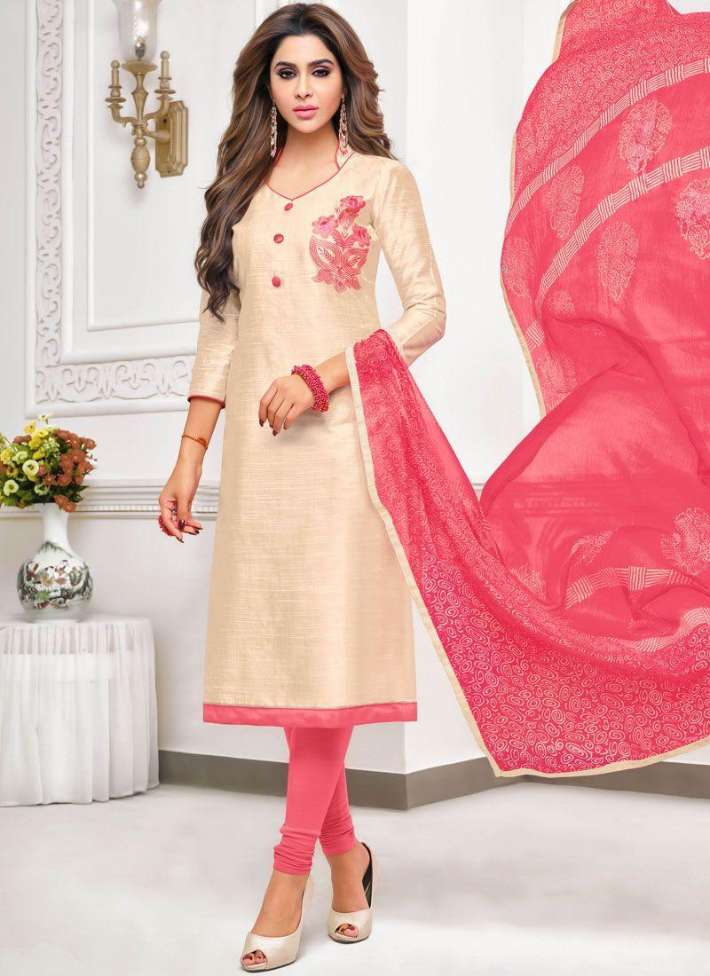 d73307be5d Shop Thread Work Cotton Churidar Salwar Kameez Online : 108010 -