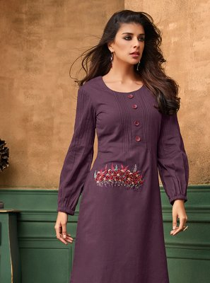 Thread Work Cotton Satin Purple Designer Kurti